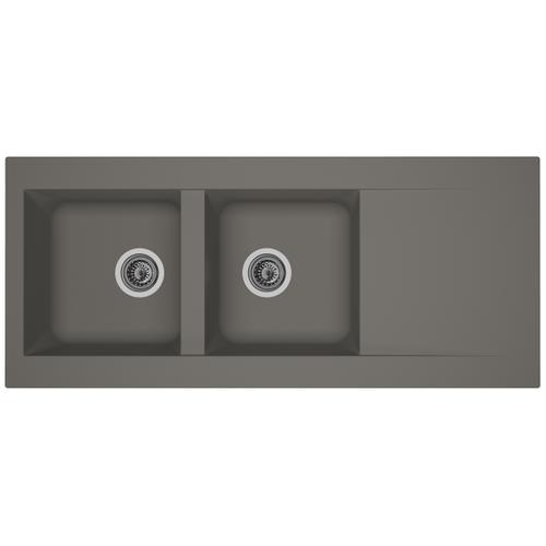 Spoelbak Einna 2 bakken 116x50x20cm composiet betongrijs