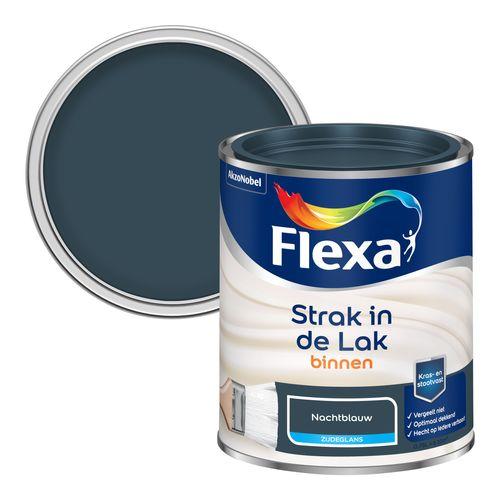 Flexa lak Strak in de Lak zijdeglans nachtblauw 750ml
