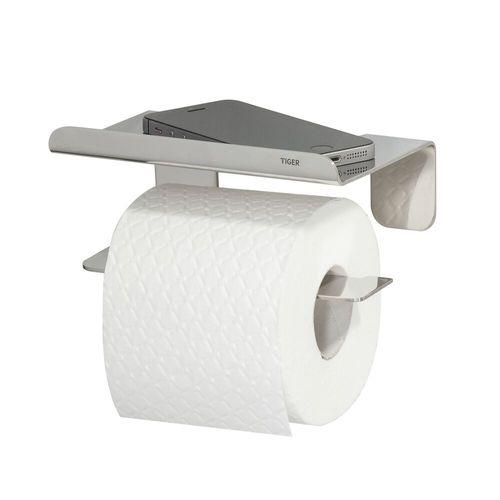Porte-rouleau papier toilette Tiger Colar avec tablette en inox poli