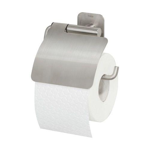 Tiger toiletrolhouder Colar met klep RVS geborsteld