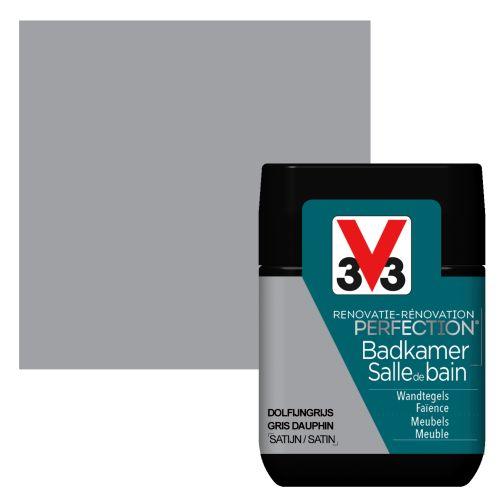 Peinture salle de bain V33 Rénovation Perfection gris dauphin satiné 75ml