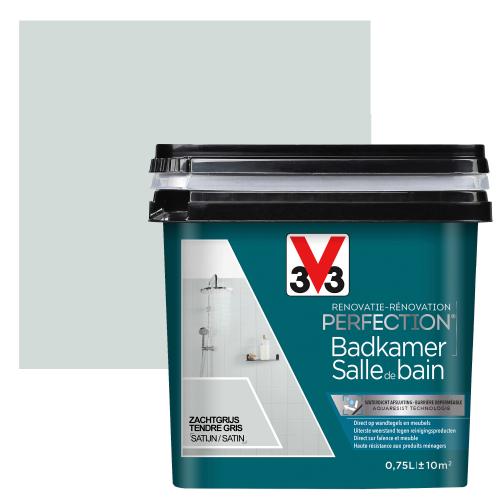 Peinture salle de bain V33 Rénovation Perfection tendre gris satiné 75ml