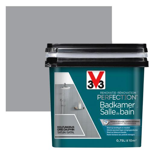 V33 badkamerverf Renovatie Perfection dolfijngrijs zijdeglans 750ml