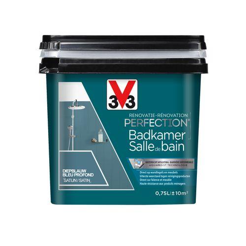 Peinture pour salle de bain V33 Rénovation Perfection bleu profond satinée 750ml