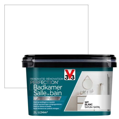 Peinture salle de bain V33 Rénovation Perfection blanc satiné 2L