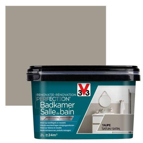 Peinture salle de bain V33 Rénovation Perfection taupe satiné 2L