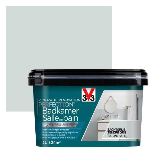 Peinture salle de bain V33 Rénovation Perfection tendre gris satiné 2L