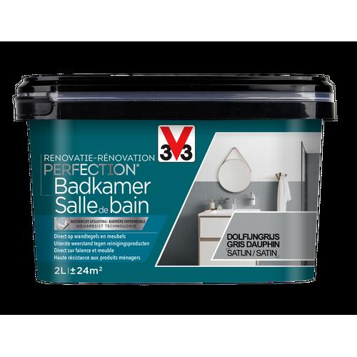 Peinture salle de bain V33 Rénovation Perfection gris dauphin satiné 2L