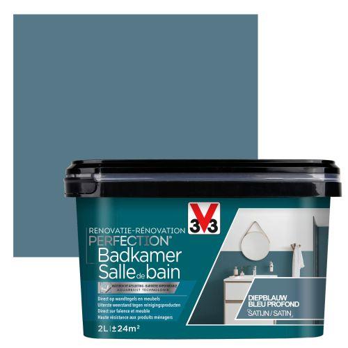 Peinture salle de bain V33 Rénovation Perfection bleu profond satiné 2L