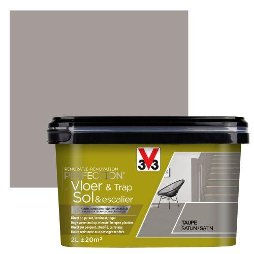 Peinture sol et escalier V33 Rénovation Perfection taupe satiné 2L