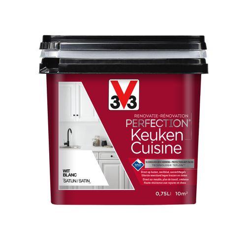 V33 keukenverf Renovatie Perfection wit zijdeglans 750ml
