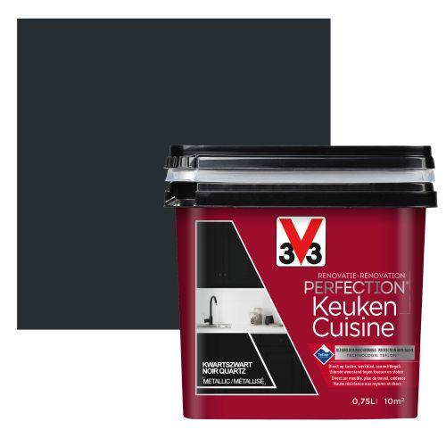 Peinture cuisine V33 Rénovation Perfection noir quartz satiné 750ml
