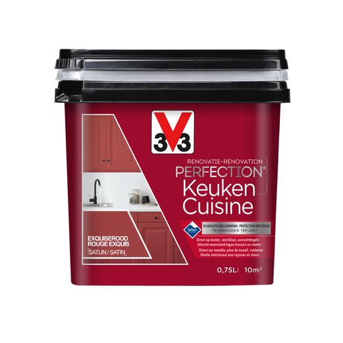 Peinture cuisine V33 Rénovation Perfection rouge exquis satiné 750ml