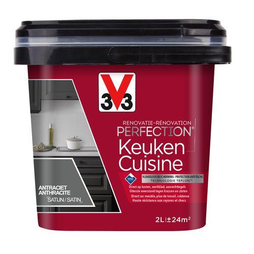 Peinture cuisine V33 Rénovation Perfection anthracite satiné 2L