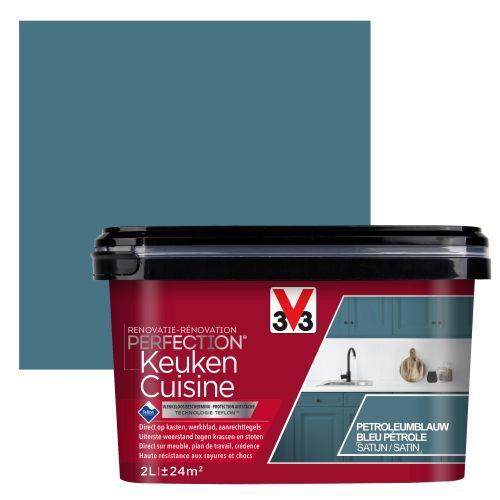 Peinture cuisine V33 Rénovation Perfection bleu pétrole satiné 2L