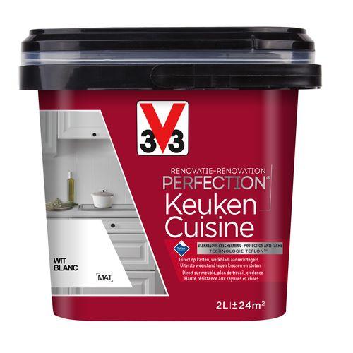 Peinture cuisine V33 Rénovation Perfection blanc mat 2L