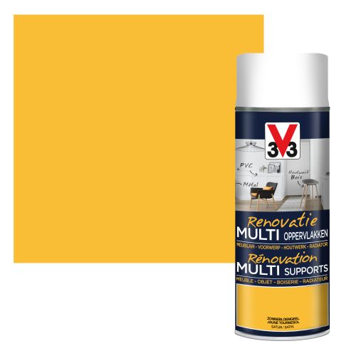 Peinture V33 Rénovation Multi-supports jaune tournesol satiné 400ml