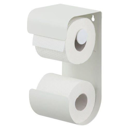 Porte-papier de toilette + réserve Sealskin Brix blanc mat à suspendre