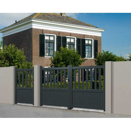 Portail double battant Elsealu Crato aluminium gris anthracite 350x140cm