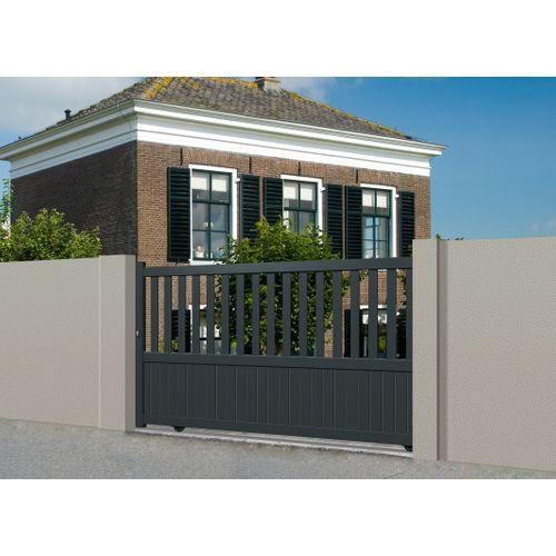 Portail coulissant Gardengate Crato aluminium gris anthracite 375x140cm