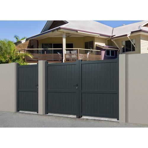 Portail double battant Gardengate Mafra aluminium gris anthracite 350x180cm