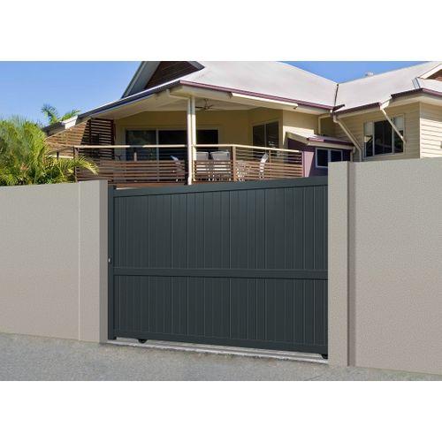 Portail coulissant Gardengate Mafra aluminium gris anthracite 375x180cm