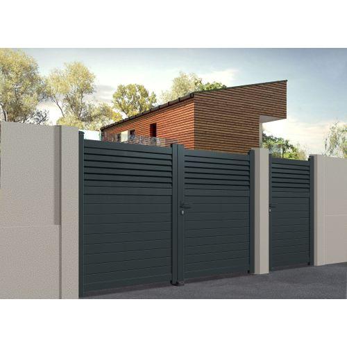 Portail double battant Gardengate Vagos aluminium gris anthracite 300x160cm