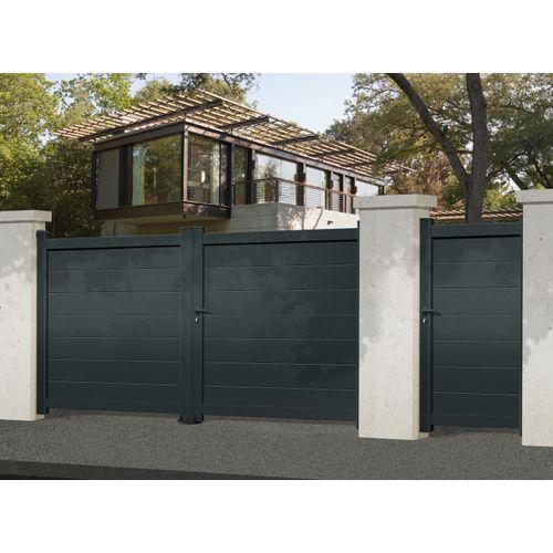 Portail double battant Gardengate Nisa aluminium gris anthracite 350x182cm