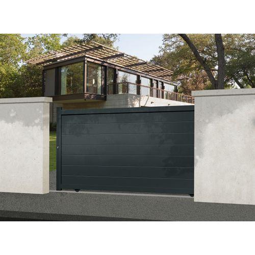 Elsealu grijs antraciet aluminium schuifpoort Nisa 325x181cm