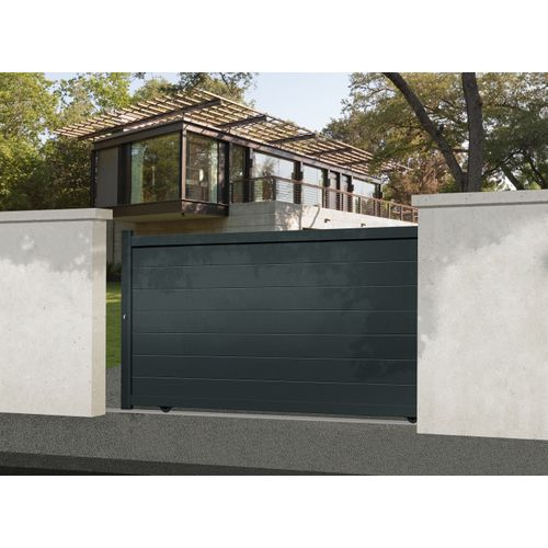 Portail coulissant Gardengate Nisa aluminium gris anthracite 375x181cm