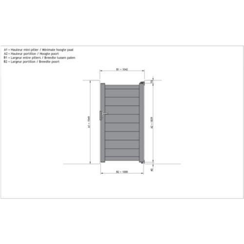 Gardengate Nisa enkele draaipoort aluminium 100x182cm