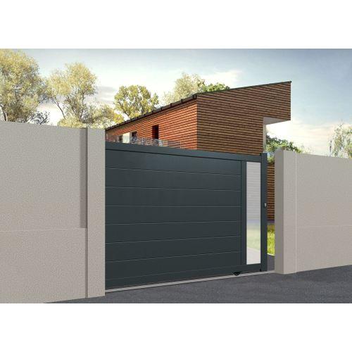 Portail coulissant Gardengate Fonte aluminium gris anthracite 375x161cm