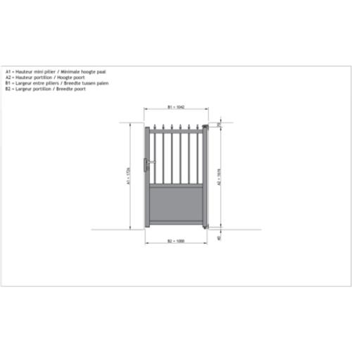 Gardengate Troia enkele draaipoort aluminium 100x160cm