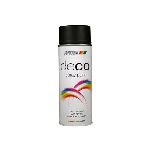 MoTip Deco Colors verf spuitbus zijdeglans diep zwart 400ml