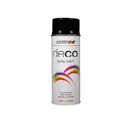MoTip Deco Colors verf spuitbus hoogglans diep zwart 400ml