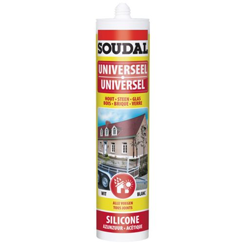 Soudal voegkit silicone 'Universele' wit 300 ml