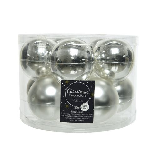 Kerstballen glas zilver 6cm 10 stuks
