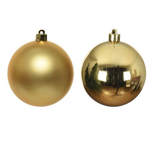 Boules de Noël brillantes et mat or 6cm 10 pièces.