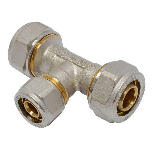 Té à compression pour tuyau multicouche 20 x 16 x 20 mm