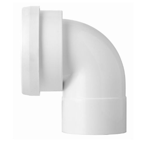 Coude 100mm courte pipe WC blanc