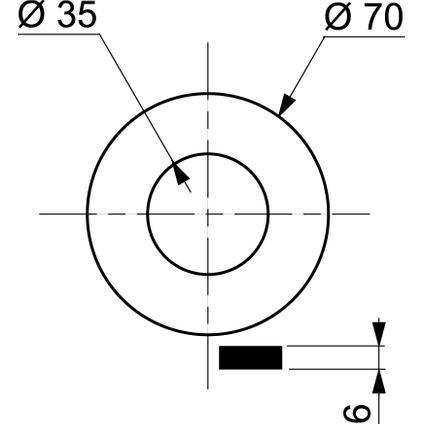 Wirquin klepdichting wc 35x70x6mm