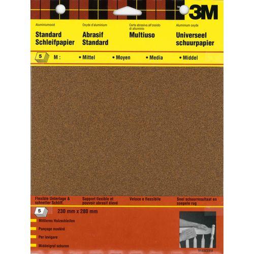 3M schuurpapier standaard vellen P180 - 5 stuks