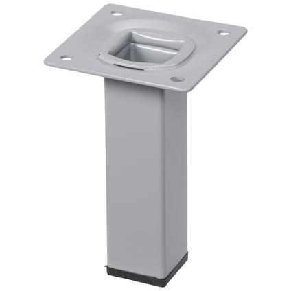 Pied de meuble métal carré argenté 10 cm