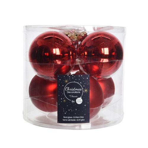 Boules de Noël en verre rouge 8cm 6 pièces