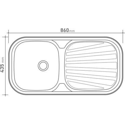 Isifix inbouwspoelbak Symphonia 1 bak RVS 86x43cm
